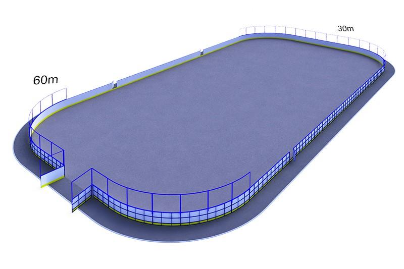 Хок-2.3 с сеткой за воротами