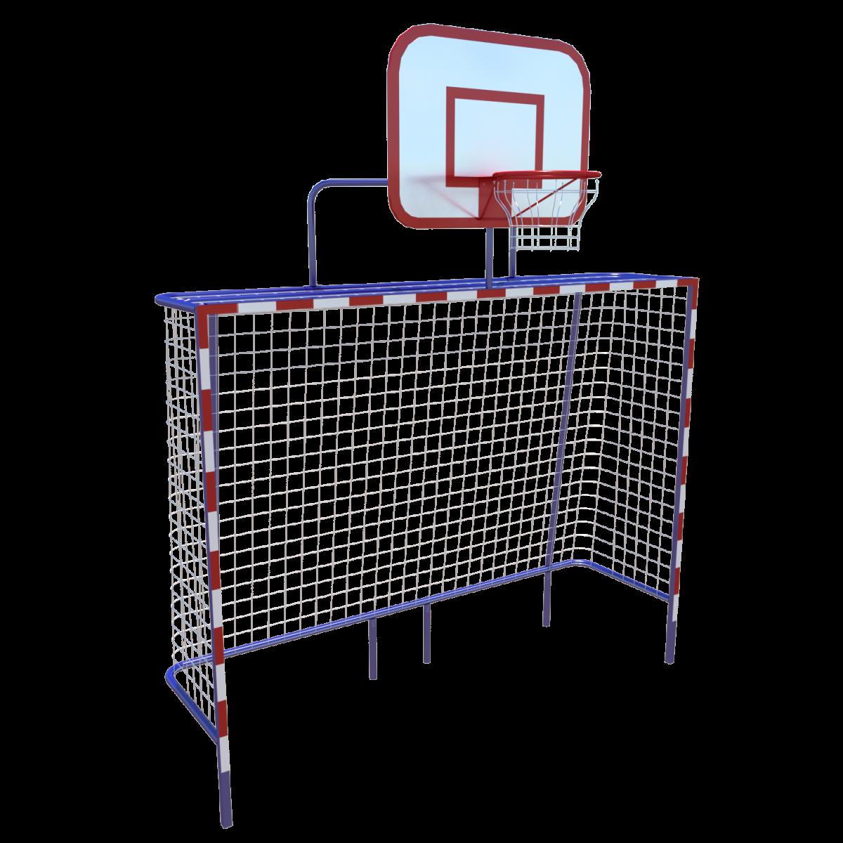 Спортивное оборудование «Стойки футбольные с сеткой и с баскетбольным щитом»